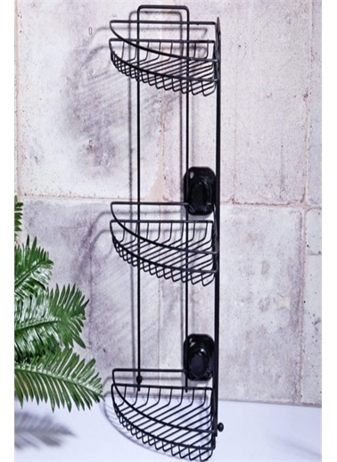 Else Halı Siyah Mat Yapışkanlı Üçgen Köşelik 3Lü Mutfak Banyo Rafı Renkli